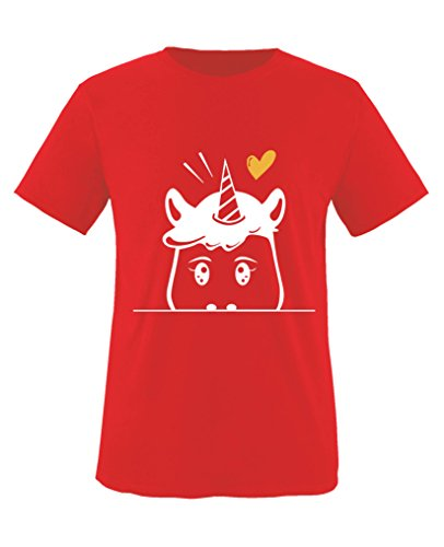 Hündin Gelbes T-shirt (Comedy Shirts - Luscherndes Einhorn - Mädchen T-Shirt - Rot / Weiss-Gelb Gr. 152/164)