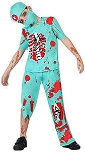 Atosa-39587 Atosa-39587-Disfraz Doctor Zombie para niño Infantil-Talla, Color azul, 5 a 6 años (39587