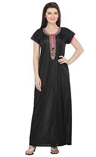 Miss Pixy Damen Bestickte Black Nighty Satin Casual Nachtwäsche (Bestickte Damen Chemise)