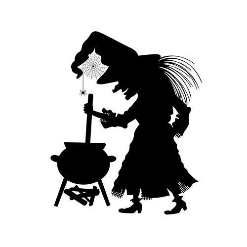 Aufkleber Vignette Selfadhesive Removable Witch Pot-Wand-Kunst-Wand-Aufkleber für DIY Zimmer Schwarz ()