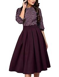 Abiti da Sera Donna al Ginocchio Vintage Moda Stampa Fiore Linea Ad A  Vestito Eleganti Manica 3 4 Rotondo Collo Giovane Pieghe Swing… ff6d637a890