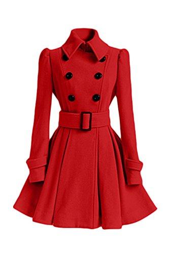 Les Manches Longues Classiques Swing Woolen Manteau Rétro Extérieur De La Tenue De La Taille red