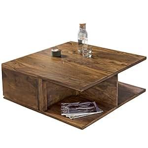 wohnling couchtisch massiv holz sheesham 88 cm breit wohnzimmer tisch design dunkel braun. Black Bedroom Furniture Sets. Home Design Ideas