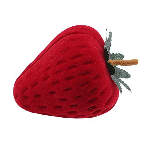 Bigsweety Kreative Erdbeer Förmigen Ring Fall Schmuck Aufbewahrungskoffer Protector Ring Geschenkbox (Verlobungsring Protector)