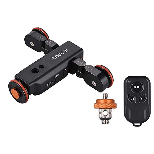 Andoer L4 PRO Video Kamera Slider Dolly Automatische mit Drahtlose Fernbedienung,1800mAh Akku 3 Geschwindigkeit einstellbar Mini Slider Skater für Canon Nikon DSLR-Kamera iOS Android 1800 Video