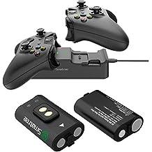 Smatree Estación de carga de doble ranura con batería recargable (paquete de 2) para Xbox One / Xbox One S / Xbox One X / Xbox One controlador inalámbrico Elite