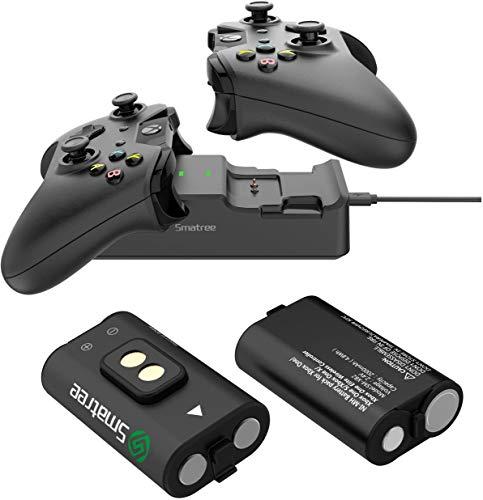 Smatree Xbox One Controller Akkus(2 Pack) mit Dual Kanal Ladegerät für Xbox One/Xbox One S/Xbox One X/Xbox One Elite Wireless Controller