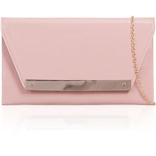 xardi London FLAT Patent Donna Clutch in pelle sintetica borsa da sera Prom Sposa Blush