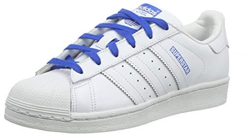 adidas Superstar J, Scarpe da Ginnastica Unisex Bambini, Bianco Ftwr White/Blue, 38 EU