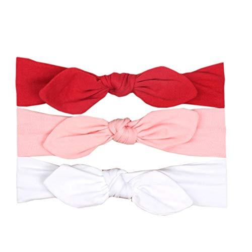 JMITHA 3 Stück Baby Stirnbänder Baby Mädchen Kids Turban Haarband Stirnband Kopfband Baby schmuck Babyschmuck Babygeschenke & Taufe (mit Geschenktüte, 12)