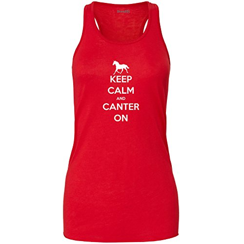 Brand88 - Keep Calm and Canter On , Damen Flowy Racer Tank Top Rot