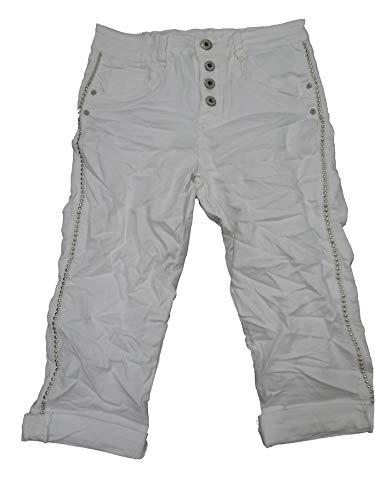 Karostar by Lexxury Damen Baggy Boyfriend Stretch Shorts Bermuda Capri Krempel Hose Knopfleiste Nieten XL-42 weiß -
