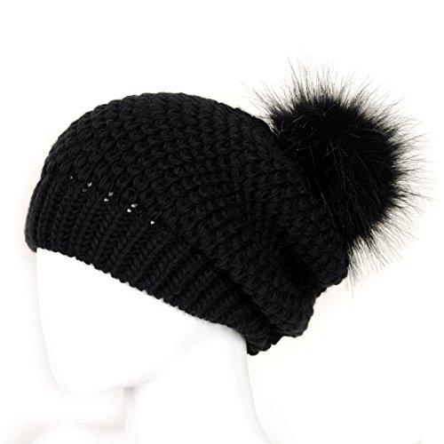 Futrzane Women's Winter Slouchy Oversize Beanie Pom Pom Knit Hat