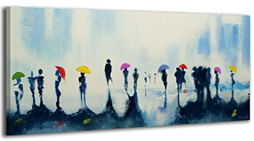 YS-Art Acryl Gemälde Treffen | Handgemalt | 115x50cm | Wand Bild | Moderne Kunst | Leinwand | Unikat | Blau