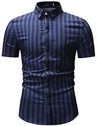Geilisungren Herren Hemd Slim Fit Kurzarm Gestreift Hemden Männer Modern  Umlegekragen Knöpfen Streifen T Shirt Bluse 10d0c44817