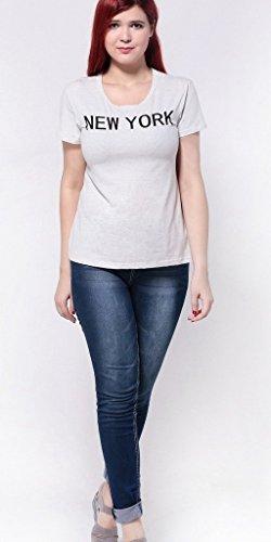 Smile YKK Femme Plus Size Tops T-shirt Moulante Slim Grosse Taille Imprimé Initiales Blanc