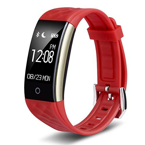 Diggro S2 Intelligente Bracciale Fitness Smart Watch per Android iOS Smartphones iPhone Samsung Sony Huawei LG e per Sport Nuoto Running Walking per Donna Uomo, Notifiche APP (Whatsapp, Facebook, Skype ), Notifiche Chiamate e SMS, Fotocamera Cattura Remota, Sveglia Rosso