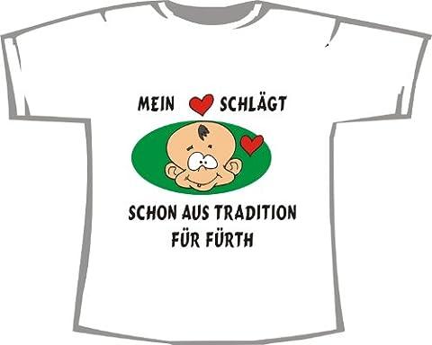 Mein Herz schlägt schon aus Tradition für FÜRTH; Unisex T-Shirt weiß, Gr. XXXL