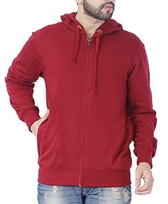 ADBUCKS Winter Wear Hood with Zipper Cotton Jacket (Medium, Maroon)