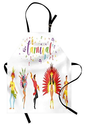 Ethnischen Kostüm Bilder - Karneval-Schürze, Karnevals-Beschriftung mit tanzenden Leuten in den ethnischen und festlichen Kostümen Bild, Unisexküchen-Latzschürze mit justierbarem Hals für das Kochen Backen-Gartenarbeit, mehrfar