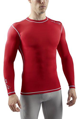 Sub Sports Herren Dual Kompressionsshirt Funktionswäsche Base Layer langarm Rot, S