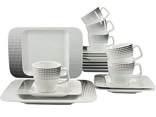 Creatable 17042, Serie Smart Techno, 18 teilig Kaffeeservice, Porzellan, Mehrfarbig, 38 x 21 x 23...