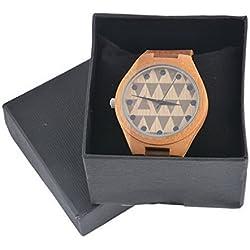 Souarts Unisex Bamboo Wood Leather Strap Analog Quartz Wrist Watch with Box Brown