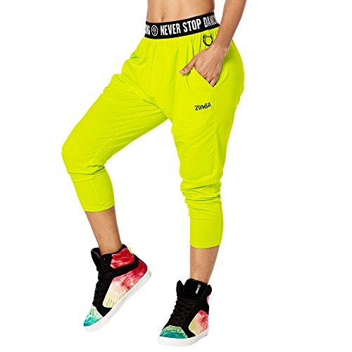 Zumba Fitness Damen Never Stop Dancing Harem Capri Pants Frauenhosen, Zumba Green, S (Zumba Tops Für Damen Grün)