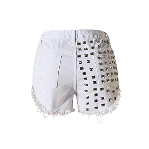 Haodasi Women Femme Sexy Vintage High Waist Taille Rivet Denim Ripped Hole Mini Shorts Hot Pants white