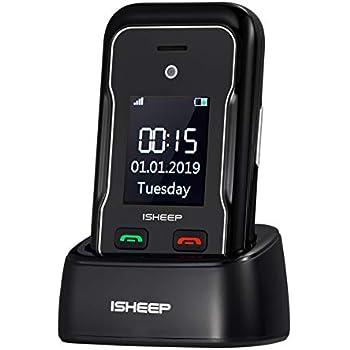Teléfono móvil con Tapa para Personas Mayores, Teclas Grandes, Isheep E7 gsm, Pantalla de 2,8 Pulgadas, tecla de Emergencia, cámara