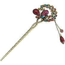 Contever® Retrò Donne Molletta per Capelli Forcina Decorazione dei Capelli Farfalla Perle Strass Salice Pizzo (Ciondolano Clip)