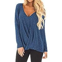 Damen Langarm-Pullover, Frashing Langärmeliger Pullover mit V-Ausschnitt Asymmetrisches Longshirt Herbst Langarm T-Shirt Bluse Casual Oberteil Lose Sweater