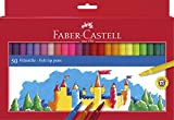 Faber-Castell 554250 - Estuche de cartón con 50 rotuladores escolares, punta de fibra, multicolor