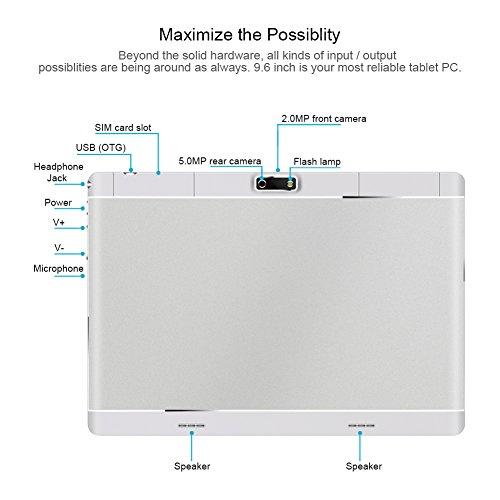 PADGENE® Android Tablet 9.6 Inch Phablet With WIFI Bluetooth4.0 GPS Dual Sim Card Slot Dual Camera Ultra Slim Tablet PC Quad Core MTK 6582 Processor 1GB RAM 16GB ROM [2018
