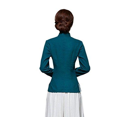 ACVIP Rétro Veste de Tang Chemise Devant Fleur Blouse à Manche Longue Style Chinoise pour Femme, Plusieurs Couleurs Bleu Foncé