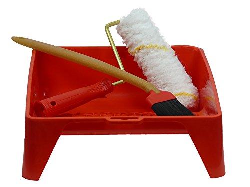 Dekor Profi Maler Set Farbwanne Renovierungsset inkl. Farbwalze Farbrolle 20cm Pinsel 60mm Malerwerkzeug Farb Behälter 30cm breit 37cm lang ISO 9001-2008 (WanneWalzePinsel)
