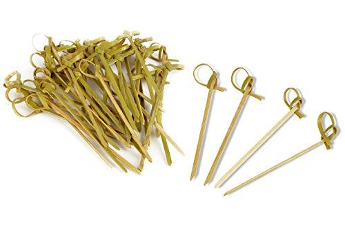 Bambus-stick (* 40 Stück Fingerfood-Spieße aus Bambus | 100 % natürlich | Spießchen Zahnstocher Sticks Picker | ca. 8,5 cm)