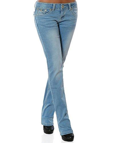 Slim Fit Straight Leg Jean (Damen Jeans Straight Leg (Gerades Bein Dicke Nähte Naht weitere Farben) No 12923 42 Hellblau)