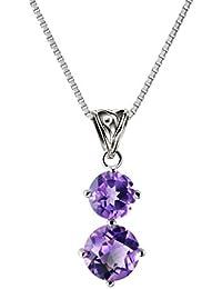 Franki Baker Natural Facetted Purple Genuine Amethyst & CZ Gemstone Pendant Necklace on 925 Sterling Silver. Grade A+ Length: 50cm UEZOEd2