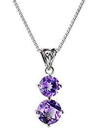 Franki Baker Natural Facetted Purple Genuine Amethyst & CZ Gemstone Pendant Necklace on 925 Sterling Silver. Grade A+ Length: 50cm