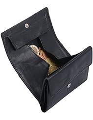 Portefeuille pour homme LOUANA, cuir véritable, noir 12x8cm