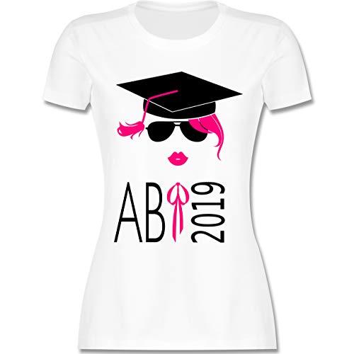 Abi & Abschluss - Hipster Abi 2019 Kussmund - XXL - Weiß - L191 - Damen Tshirt und Frauen T-Shirt