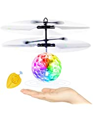 Betheaces Flying Ball, Kids Toys RC Flying Disco Hover Ball Toy Helicopter Drone Infrared Induction with Built-in Flashing LED Light Gifts for Boys Girls Teenagers Indoor and Outdoor Handheld Games