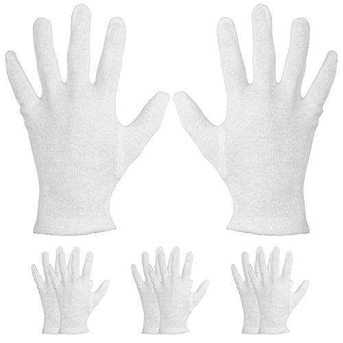 4Paar feuchtigkeitsspendende Handschuhe aus Baumwolle, für trockene Hände und Neurodermitis, weiß