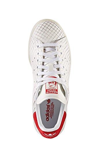 adidas Stan Smith W, Scarpe da Ginnastica Donna Bianco (Ftwwht/Ftwwht/Colred)