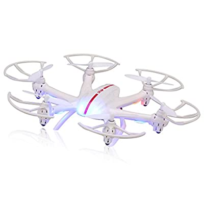 MJX X800 2.4GHz RC Quadcopter Helicopter Spy Mini Drone 6 Axis Gyro System Remote Control Flip Fly 3 Variable Speed Levels UFO 3D Rotation and 360 Degree Eversion With LED Lights Headless One Key Return Control Quadcopter - White