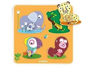 DJECO- RompecabezasPuzzles encajables y rompecabezasDJECOEncajable Mamijungle, Multicolor (15)