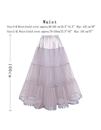 Dresstells Knöchellang Petticoat Reifrock Unterrock Underskirt Crinoline für Hochzeitskleider Grey