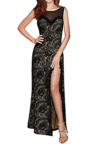 Sparkling YXB Womens Sexy Backless High Side Split Elegant Sleveless Lace Mesh Long Evening Party Dress Black Small