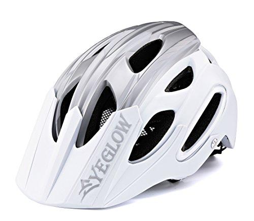 EyeGlow Casco Mountain Bike Casco bici da bicicletta Sport Casco protettivo 18 Vents Casco leggero e traspirante Casco per adulti Uomini / Donne Taglia regolabile 54-58MM (argento bianco)